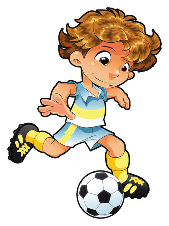 quickness: Baby Soccer Player. Cartoon and vector character.