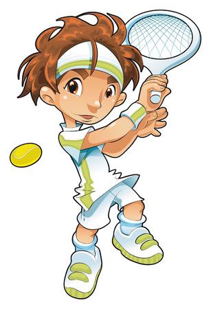 dinamismo: Bambino tennista. Cartone animato e il vettore di carattere.