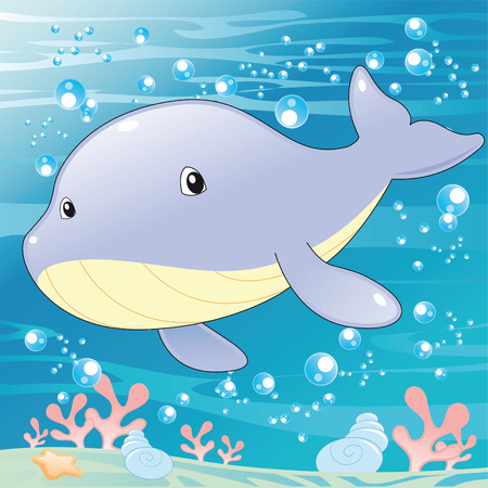 tenderly: Baby Whale. Cartoon and vector illustration.