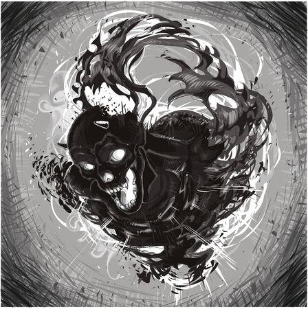 Dark Death. Cartoon and vector illustration. Stock Vector - 5609825