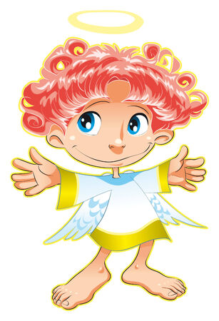 girls feet: Little Angel. Cartoon and vector character. Illustration