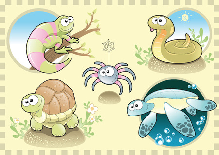 tenderly: Rettili e spider family, con sfondo. Cartone animato e vettoriale illustrazione.