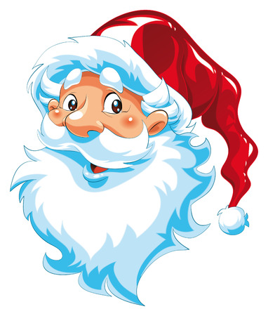 Santa Claus - portrait. Cartoon and vector illustration.