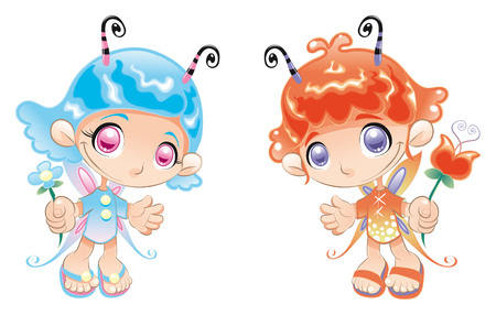 Two Little Fairies. Cartoon and vector characters. Illustration