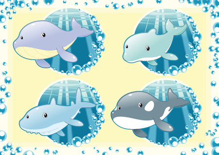 Ocean Family fish. Cartoon and vector illustration. Vector