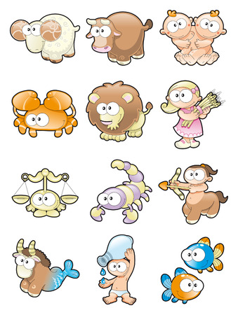 animal idiot: Funny Zodiac. Cartoon and vector illustration.