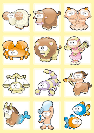zodiac signs: Funny Zodiac with Background. Cartoon and vector illustration.