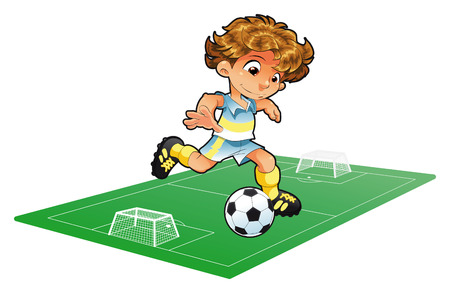 quickness: Baby Soccer Player with background. Cartoon and vector illustration.