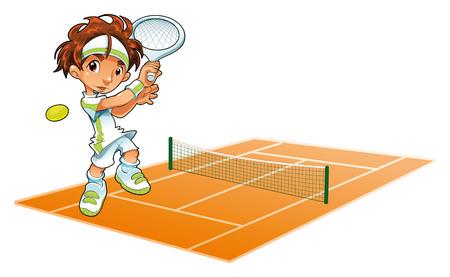 tenis: Baby Tennis Player con el fondo. Dibujos animados e ilustraci�n vectorial.