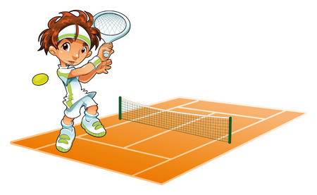 Tennis: Baby-Tennis-Player mit Hintergrund. Cartoon und Vektor-Illustration.