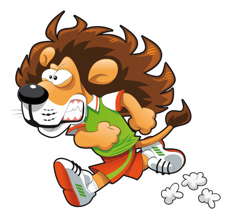Runner Lion. Funny cartoon and vector sport character. Stock Vector - 5656758