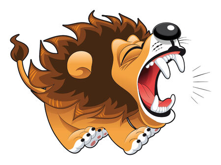 tenderly: Barking lion. Funny cartoon and vector character