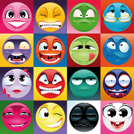 doubtful: Group of expression with background. Funny vector and cartoon elements.