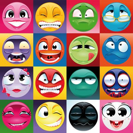 Groupe d'expression en arrière-plan. Funny vecteurs et les éléments de dessin animé. Vecteurs