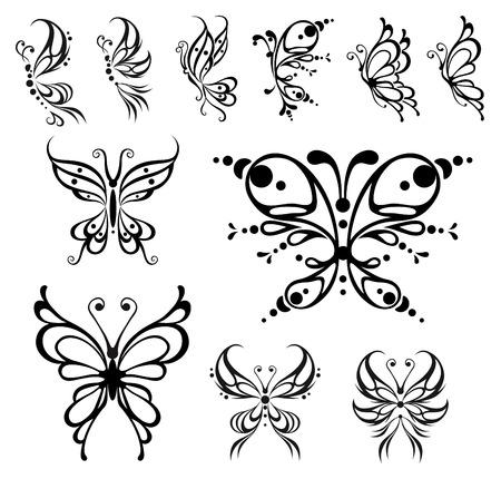 farfalla tatuaggio: Tatuaggio di farfalla. Illustrazione vettoriale, oggetti isolati di bianchi e nero.  Vettoriali