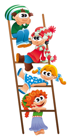 woman laying down: Staircase with children. Funny vector and cartoon scene.