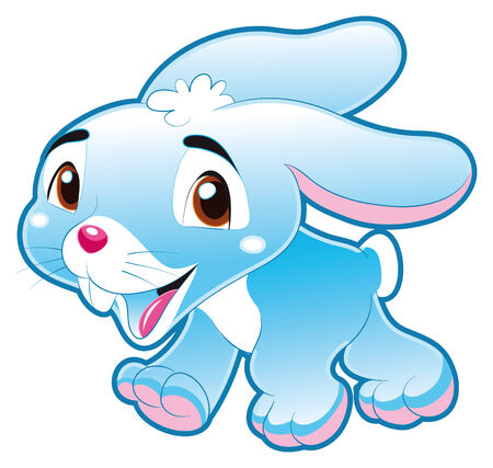 Baby Blue Rabbit. Funny cartoon and animal character. Vector