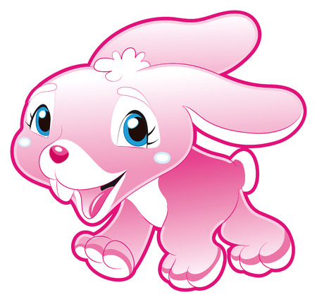 tenderly: Baby Pink Rabbit. Funny cartoon and animal character.