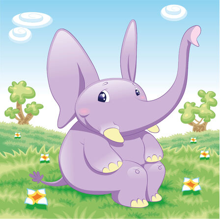 Baby Elephant in the meadow. Funny cartoon and animal character. Vector