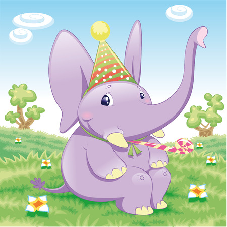 Baby Elephant - Party. Funny cartoon and animal character. Vector