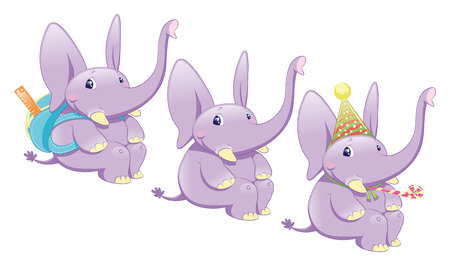 Three types of elephant: normal, school and party. Vector