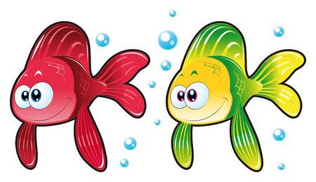 peces de acuario: Dos de los peces. Historieta divertida y personajes animales. Vectores