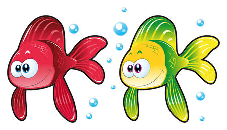 Two Fish. Funny cartoon and animal characters. Stock Vector - 5799917