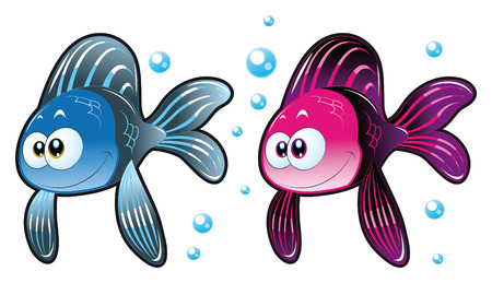 big fish: Two Fish. Funny cartoon and animal characters. Illustration
