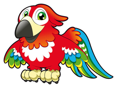 tenderly: Baby Parrot. Funny cartoon and animal character Illustration