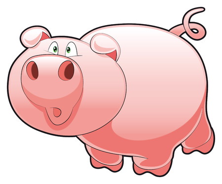 tenderly: Baby Pig. Funny cartoon and animal character Illustration