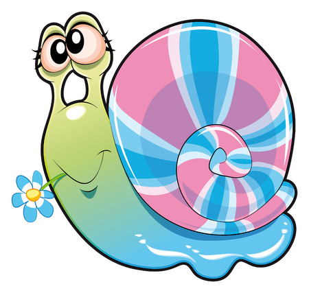 Baby snail. Funny cartoon and animal character Stock Vector - 5799910