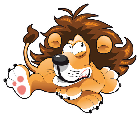 tenderly: Baby lion. Funny cartoon and animal character