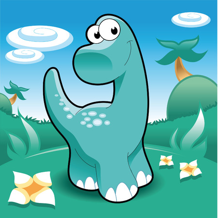 Brontosaurus. Funny cartoon and animal character Stock Vector - 5799918