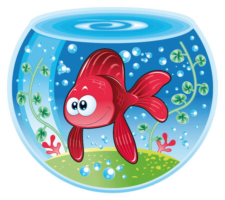 tenderly: Baby fish in water. Funny cartoon and vector illustration