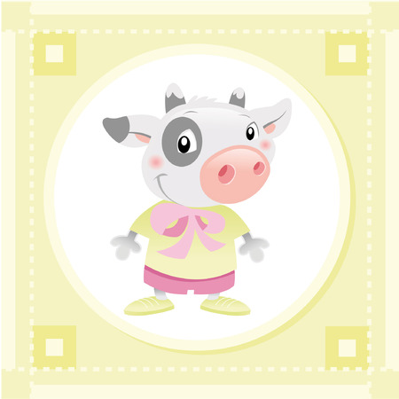 tenderly: Baby Cow. Funny cartoon and vector animal character. Illustration
