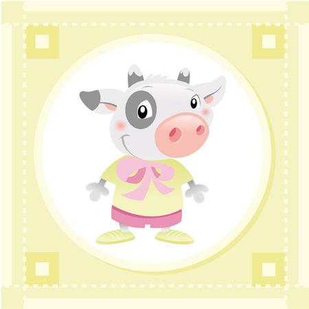 vaca caricatura: Vaca de beb�. Car�cter divertido de animal dibujos animados y vectoriales.