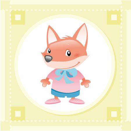 Baby Fox. Funny cartoon and vector animal character. Stock Vector - 5800266