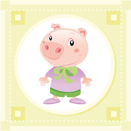 Baby Pig. Funny cartoon and vector animal character. Vector