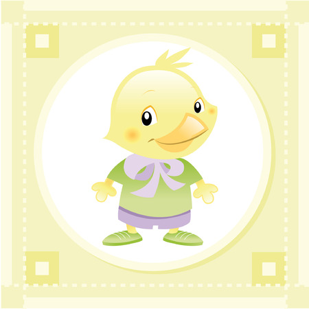tenderly: Baby Bird. Funny cartoon and vector animal character. Illustration