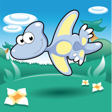 pterodactyl: Baby Pterodactyl. Funny cartoon and vector illustration.