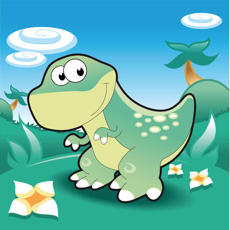 Baby Tyrannosaur. Funny cartoon and vector illustration. Vector