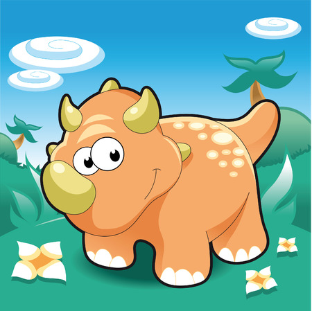 Baby Triceratops. Funny cartoon and vector illustration. Vector