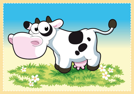 piebald: Cow in the meadow. Funny and cartoon and vector illustration.
