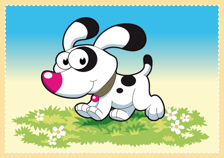 tenderly: Dog in the meadow. Funny and cartoon and vector illustration.