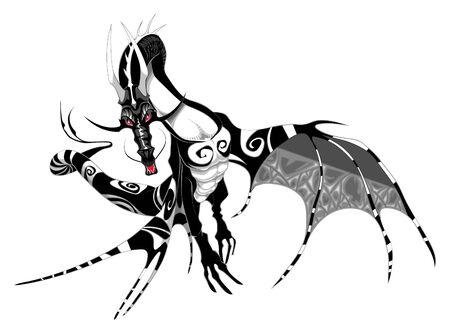Vector illustration - Black and White Dragon