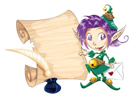 tenderly: Little Elf con lettera. Funny illustrazione fumetto e vettoriale Vettoriali