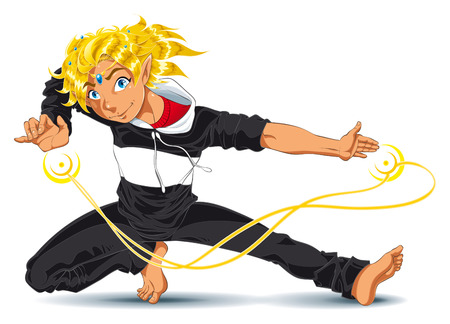 manga: Boy with energy. Vector and cartoon character Illustration
