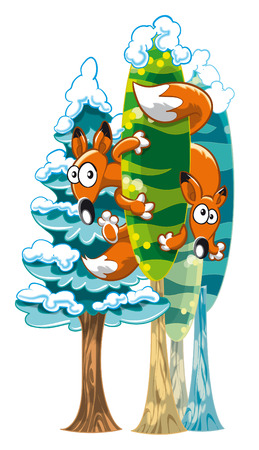 adolescent: Two foxes between trees. Vector and cartoon winter scene