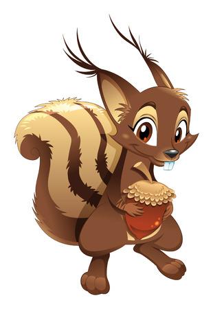 Écureuil, personnage de dessin animé drôle.