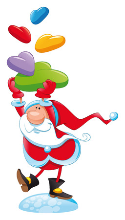 Santa Claus with gift, cartoon Illustration